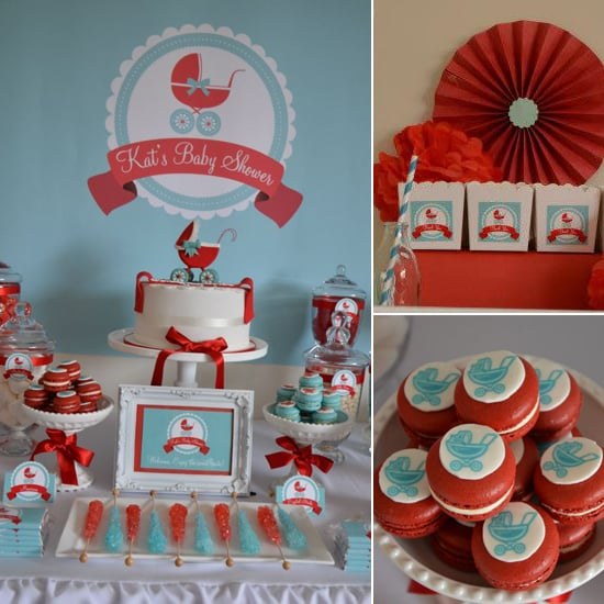 A Baby Carriage Shower in Bold Shades of Red and Aqua