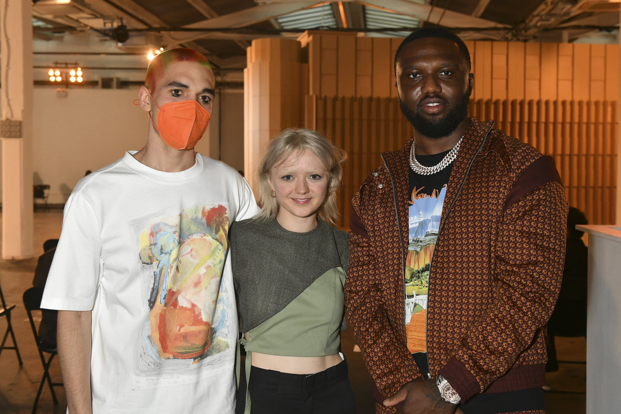 LONDON, ENGLAND - JUNE 12: (L-R) Reuben Selby, Maisie Williams and Headie One attend the Reuben Selby show during London Fashion Week June 2021 on June 12, 2021 in London, England. (Photo by David M. Benett/Dave Benett/Getty Images)