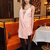 Caroline Sieber's little pink sheer dress proved both fashion-forward and girlie at a Net-A-Porter party in London. We love the peek-a-boo effect with her black bra.