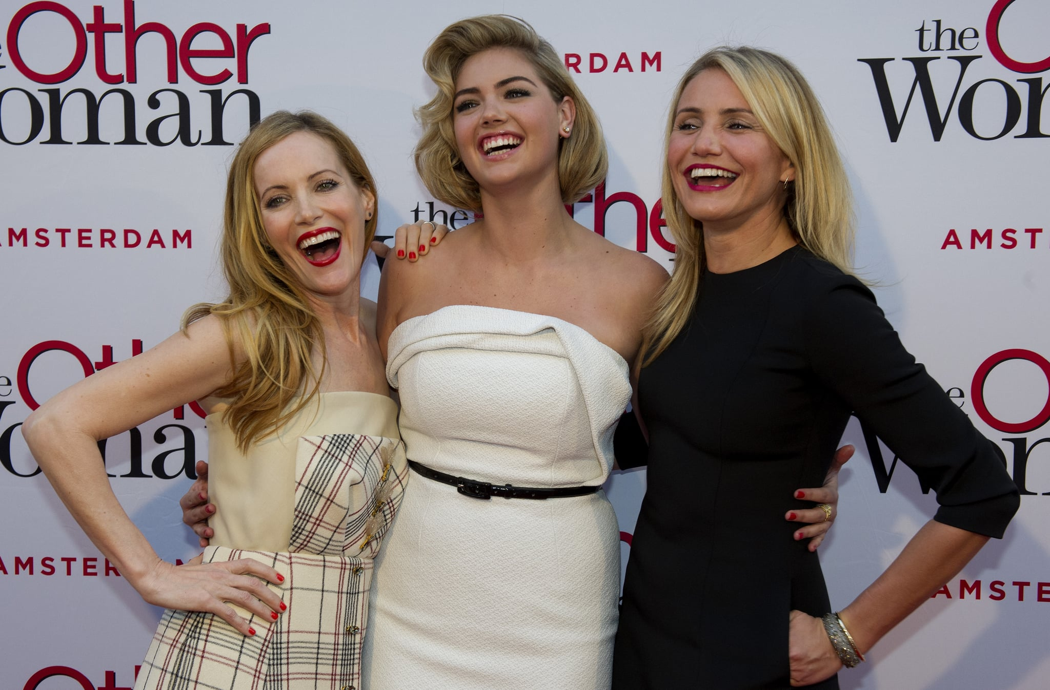Leslie Mann, Kate Upton, and Cameron Diaz were all smiles at the premiere of The Other Woman in Amsterdam. Did you see Leslie's butt grab?
