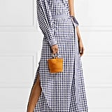 Rosetta Getty One-Shoulder Gingham Wrap Gown