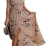 Genhoo Women Off the Shoulder Floral Split Boho Chiffon Maxi Beach Dress