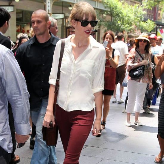 Taylor Swift Wears Burgundy in Australia (Video)