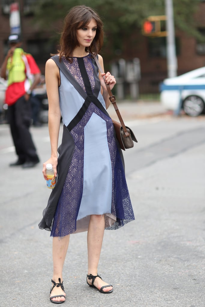 A beautiful lace-inset dress took the focus in this easy ensemble. Source: Greg Kessler