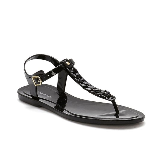 Gladiator sandals are too fussy, but thongs are too flimsy. The solution? A simple jelly t-bar! Bonus: You can hose these puppies off once home. Sandals, $39.95, Country Road