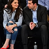 Katie Holmes sat courtside with her agent.