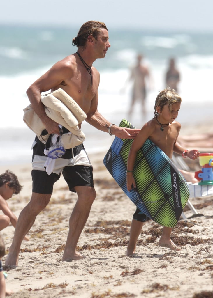 Gavin Rossdale and Kingston Rossdale hit the beach.