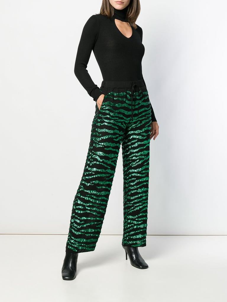P.A.R.O.S.H. Sequin-Trim High-Waist Trousers