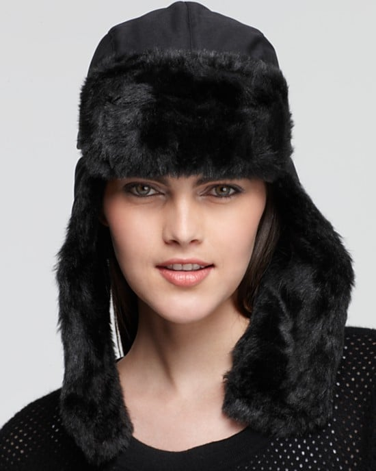 Keep your all-black uniform intact with a slick North Face black fur trapper hat ($45) — it's functional and pretty fashionable, too.