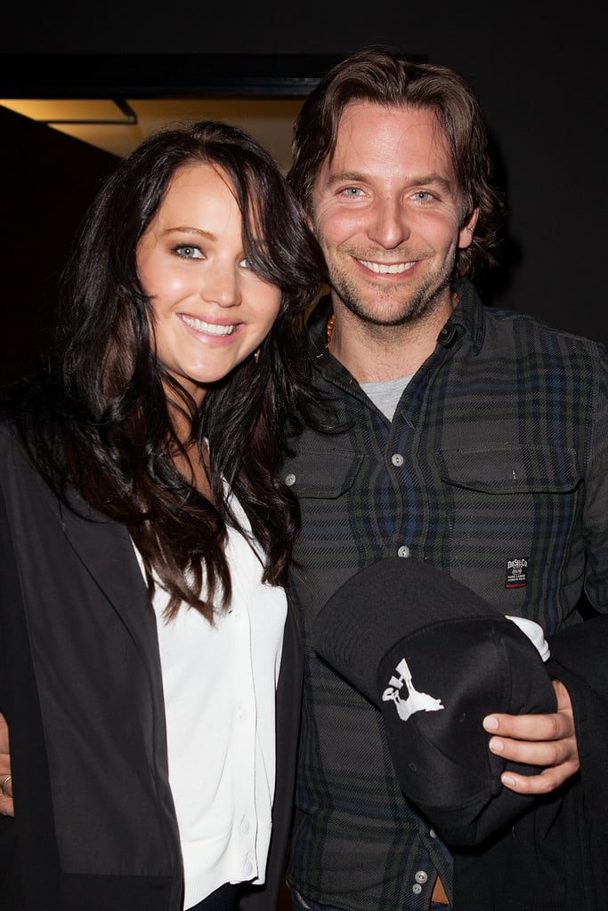 Jennifer Lawrence and Bradley Cooper  smiled for photos at the Silver Lining Playbook sreening in LA.