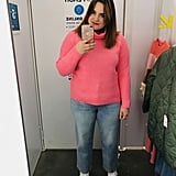 Hot-Pink Turtleneck and Jeans