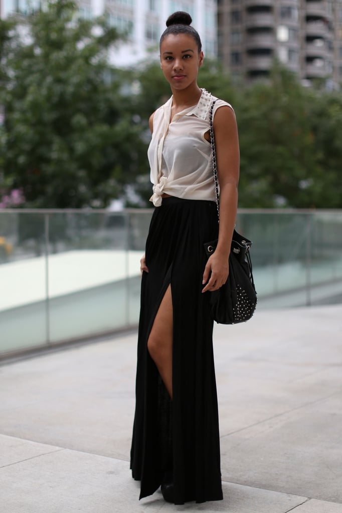 A subtle slit gives this maxi skirt look a leg up.
