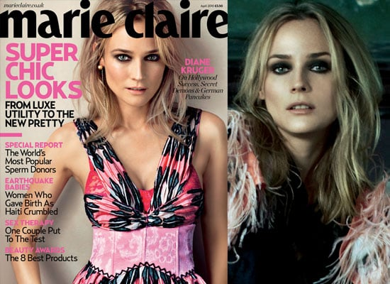 Photos of Diane Kruger in April 2010 Issue of Marie Claire UK Magazine Where She Talks About Joshua Jackson, Marriage and More