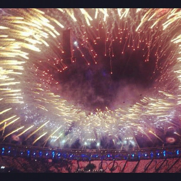 Stella McCartney captured a photo of the fireworks from her seat inside Olympic Stadium. Source: Instagram user stella_mccartney