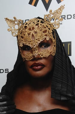Photo of Grace Jones Red Carpet 2008 Mobo Music Awards. Love or Hate Her Gold Lace Cat Mask Beauty Look?