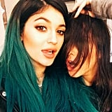 Kylie and Kendall Jenner took a stylish selfie while celebrating Thanksgiving at their sister Khloé Kardashian's house.