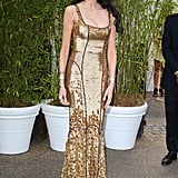L'Wren Scott in a Gold Gown From her Own Label
