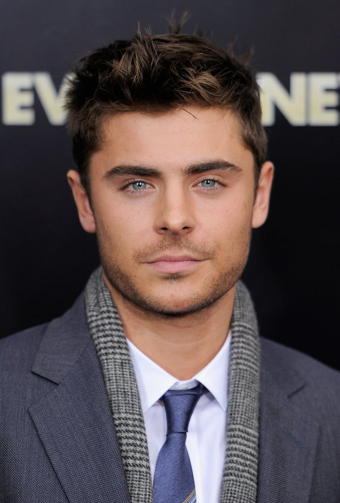 Zac Efron's eyes popped with the help of his blue tie.