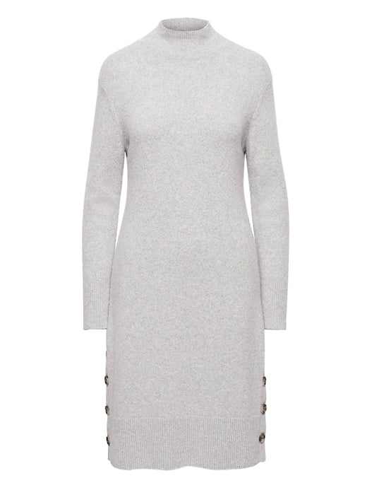 Turtleneck Sweater Dress with Button-Sides