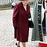 For the Commonwealth Day service at Westminster Abbey, which was also attended by Meghan Markle, the monarch wore her loafers with a burgundy coat and matching hat.