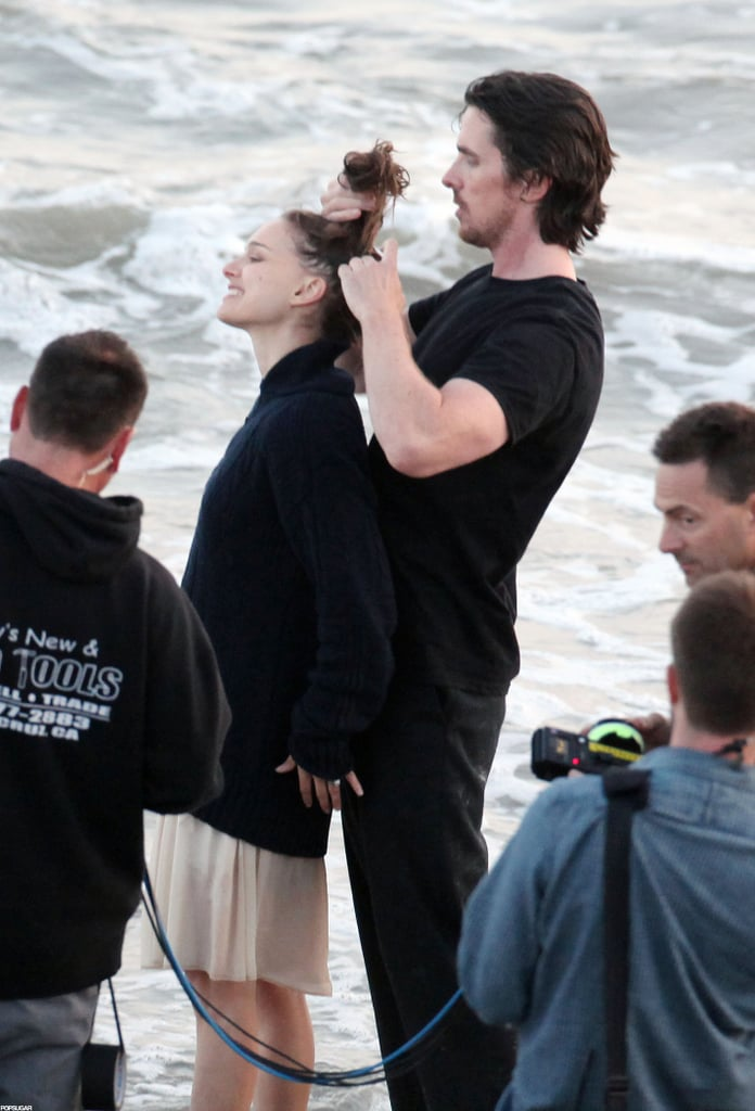 Christian Bale helped Natalie Portman with her hair on set.