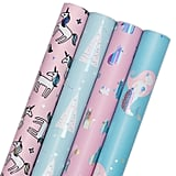 Mermaid, Unicorn, Cat, and Tree Gift Wrapping Paper Rolls