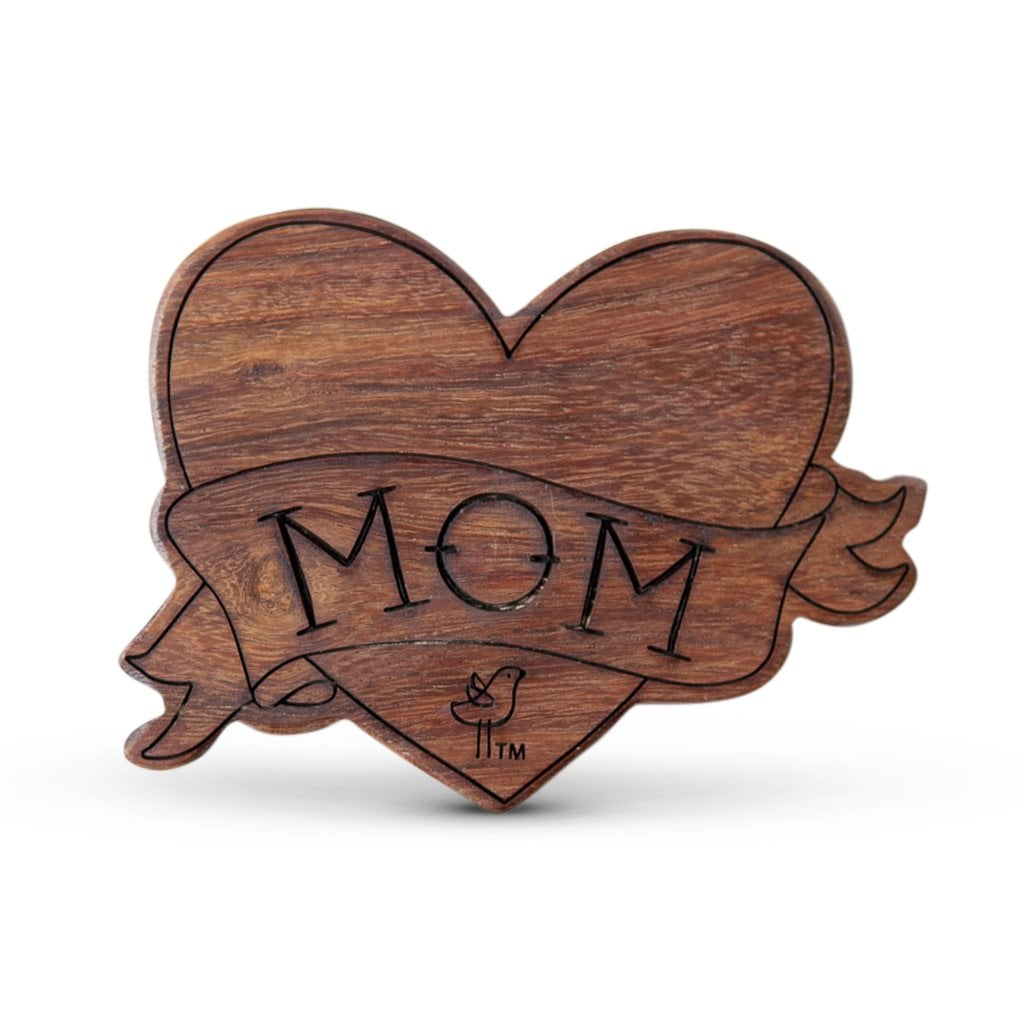 Mom Wood Teething Rattle