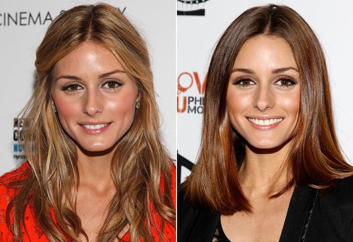 Olivia Palermo: Long textured hair to a sleek lob.