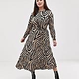 ASOS Design Curve Tie-Waist Maxi Dress in Animal Print