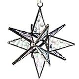 J Devlin ORN 252 Clear Iridized Glass Moravian Star Ornament