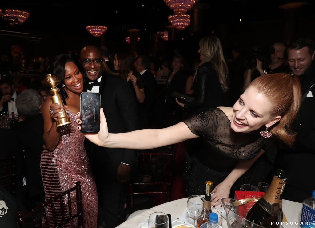 Pictured: Regina King, Barry Jenkins, and Jessica Chastain
