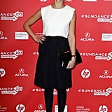 Jessica Alba was on-trend in a black-and-white colorblock Christian Dior dress at the 2013 Sundance Film Festival for the premiere of A.C.O.D.