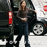 Katie Holmes wore wide-legged jeans.