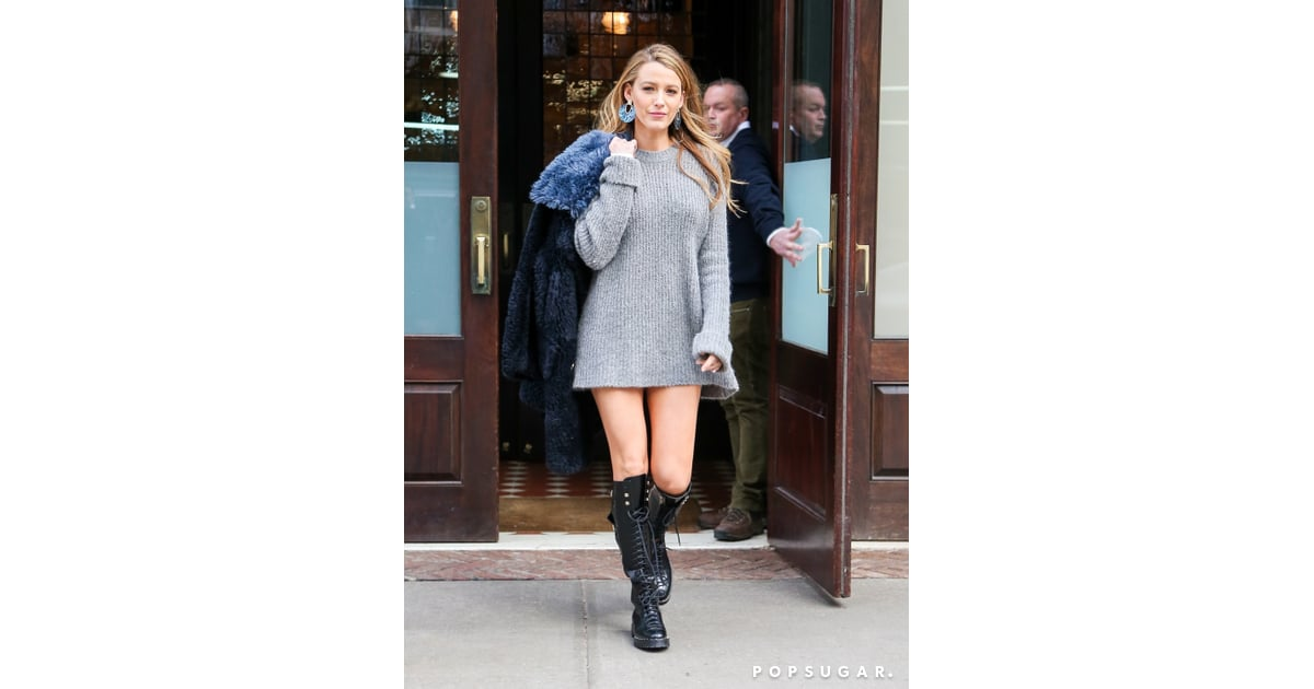 b267531f665 Blake Lively Wearing a Sweater Dress and Combat Boots