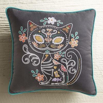 Pier 1 Imports Dia de los Muertos Cat Pillow ($35)