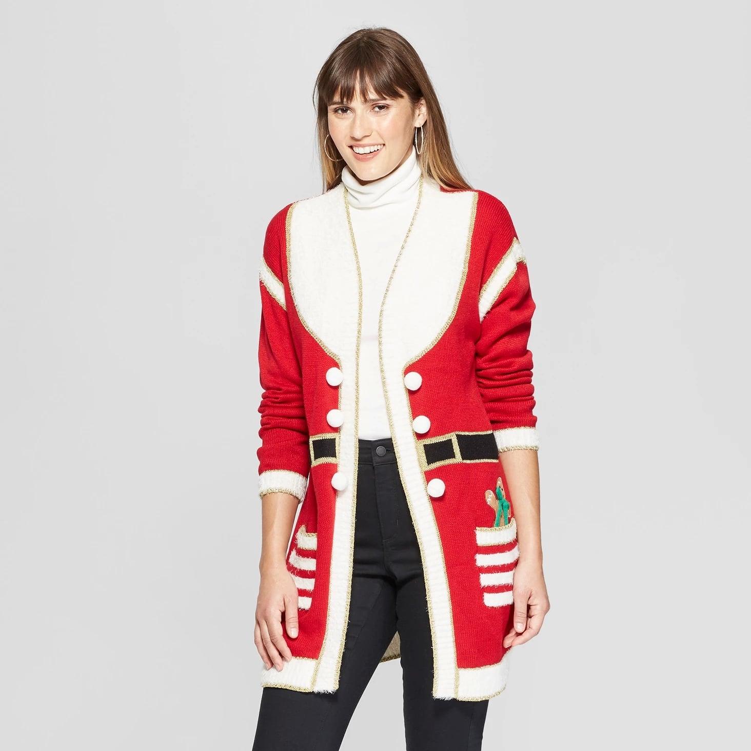 Christmas Cardigan.Women S Santa Ugly Christmas Cardigan Target Is Selling