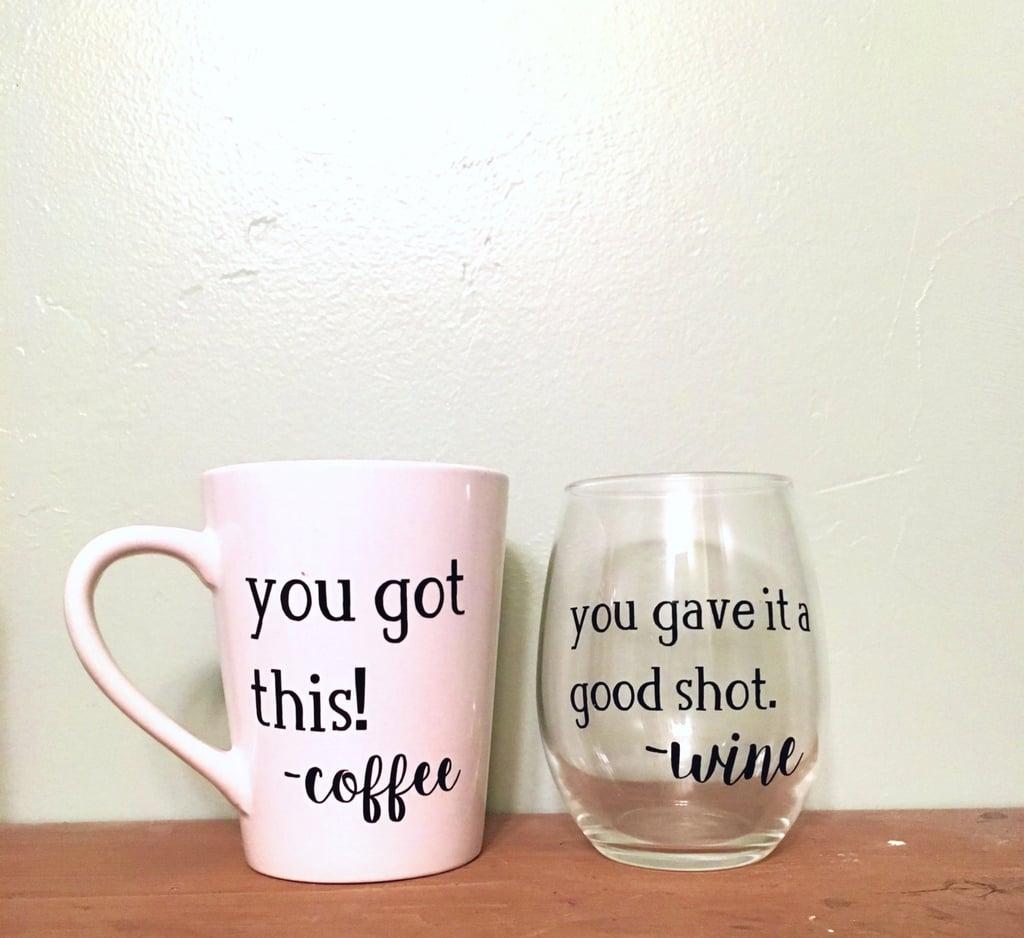 Coffee Mug Versus Wine Glass Set