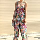 This styler stayed cool in a vibrant, breezy jumpsuit. Source: Greg Kessler