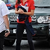 The Duchess of Cambridge wore a pair of bright red Adidas sneakers when she watched cycling events at the London 2012 Paralympic Games in August 2012.