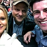 Remember Veronica Mars? Stars of the show Kristen Bell, Enrico Colantoni, and Max Greenfield reunited at a hockey game. Source: Kristen Bell on WhoSay
