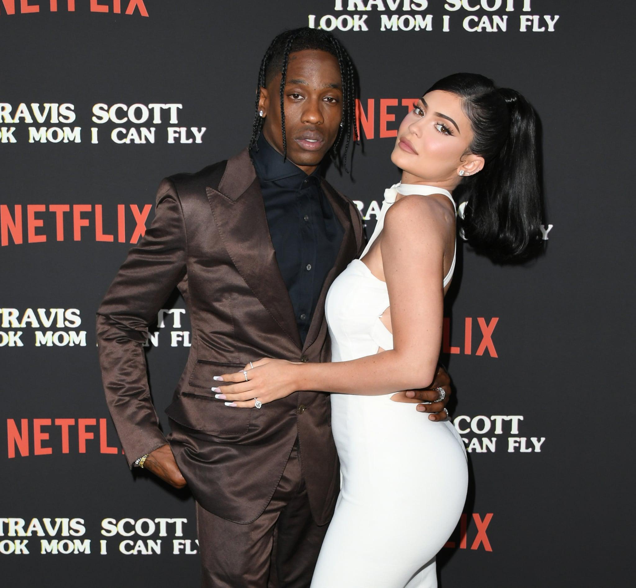 SANTA MONICA, CALIFORNIA - AUGUST 27:  Travis Scott and Kylie Jenner attend the Premiere Of Netflix's