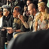 Paris Hilton took in The Blonds show from front row seated near Adam Lambert. Source: Instagram user fashion_critic_