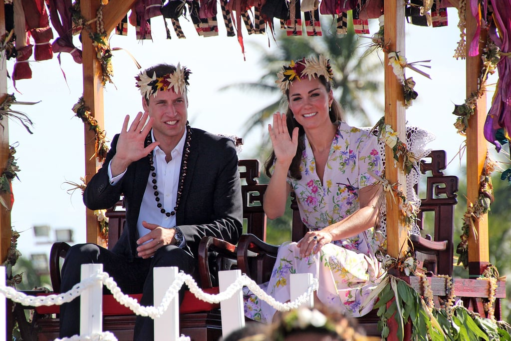 Prince William and Kate Middleton waved during their farewell ceremony in Tuvalu.