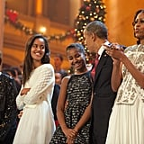 The Obamas shared a sweet moment on stage at the event.