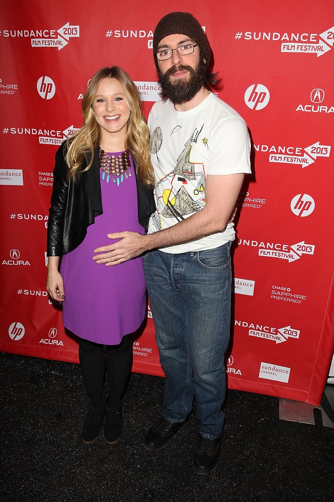 Kristen Bell got her belly rubbed by friend Martin Starr at the Sundance Film Festival on Saturday.