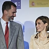 The couple shared a sweet moment during an event in Madrid in May.