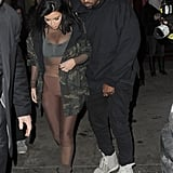When Kim dressed head-to-toe in some kind of body stocking at NYFW, but Kanye stuck to his basics.