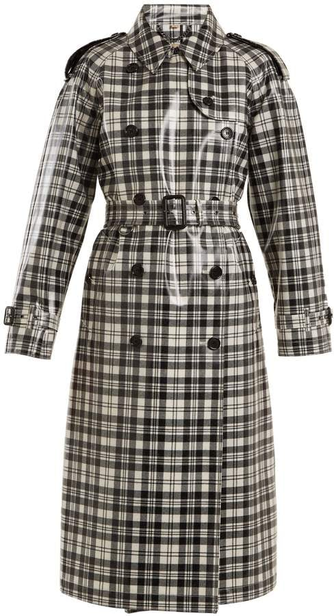 Burberry Laminated-tartan wool trench coat