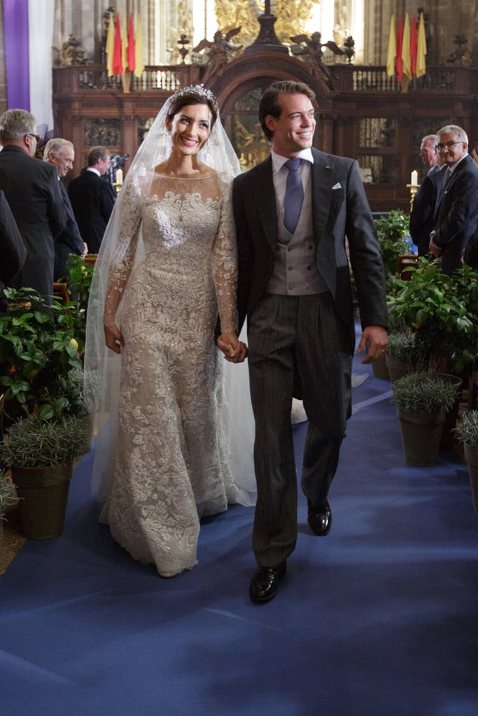 "Claire Lademacher and Prince Félix of Luxembourg walked hand in hand after they said ""I do."""