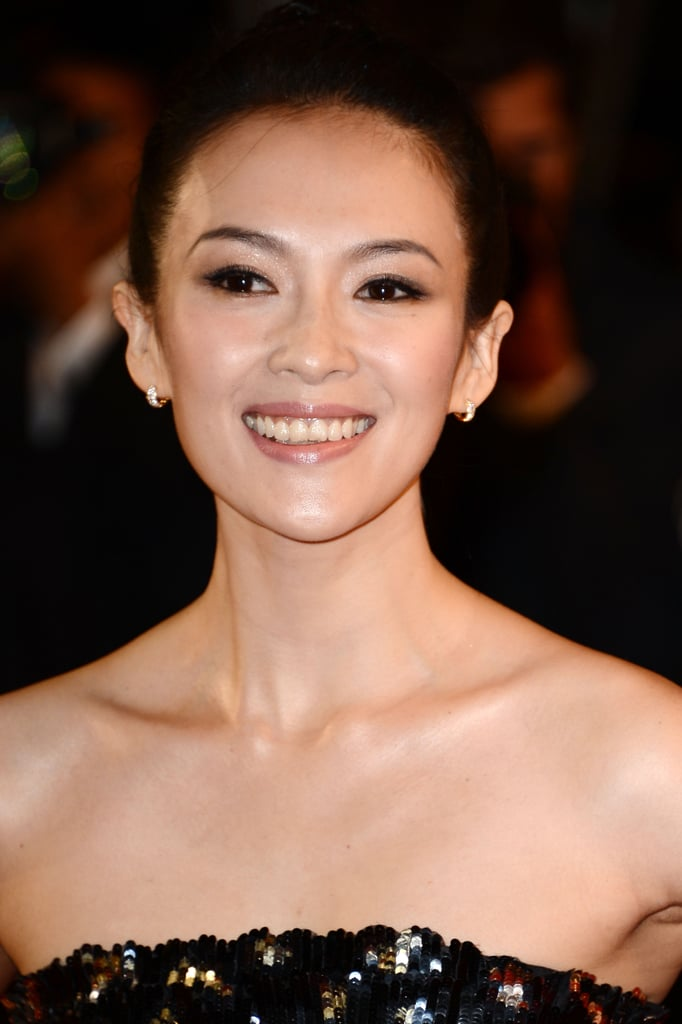 Fresh-faced Zhang Ziyi opted for a classic up 'do.